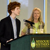 College Heights Christian School's Daniel Estep refelects on the positive impact his teacher, Mrs. Stanley has had on him both academically and personally during The Joplin Globe All-Area Academic Excellence Team 32nd Honor Banquet on Tuesday night at Missouri Southern.<br /> Globe | Laurie Sisk