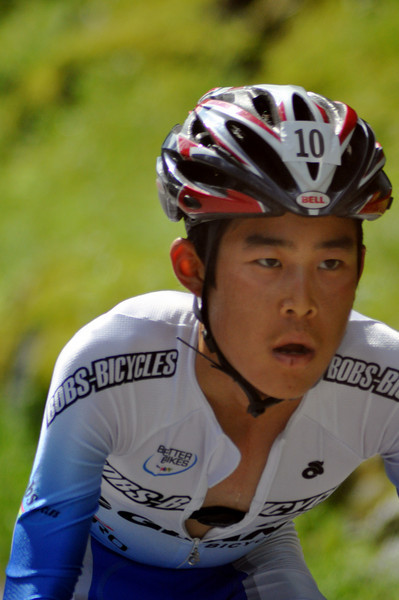 Christopher Hong, 21, of Lutherville, MD, competes in the Newton's Revenge bicycle race, up New Hampshire's Mount. Washington. Mr. Hong went on to finish 2nd, with a time of 57:24, in the July 11th event.