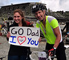 Jim Dannis, 52, is greeted by his biggest fan, daughter Larisa, after finishing the Newton's Revenge bike race on Mt. Washington. Mr Dannis, of Dalton, NH, completed the 7.6 mile uphill course in a time of 1:19:31, which was good for 21st place.