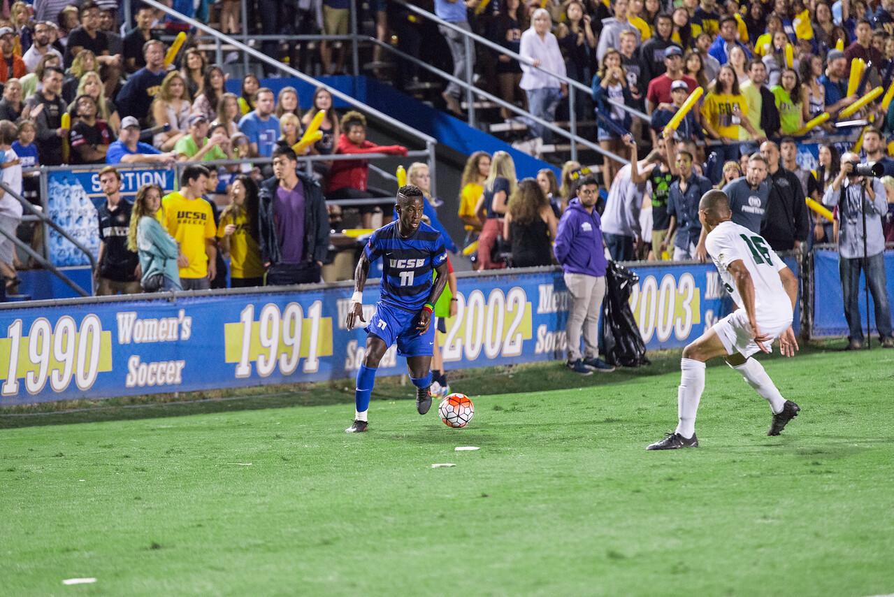 Geoffrey Acheampong jukes around the SLO defense.