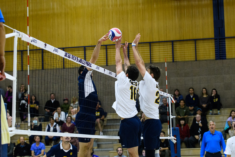 Hayden Boehle keeps a soft touch on the UC Irvine middle's tip.