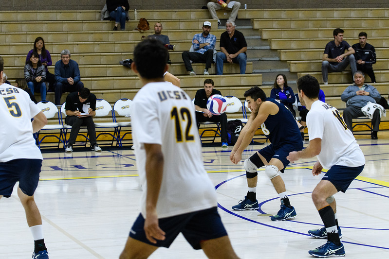 Libero Parker Boehle controls his pass from a strong jump serve.
