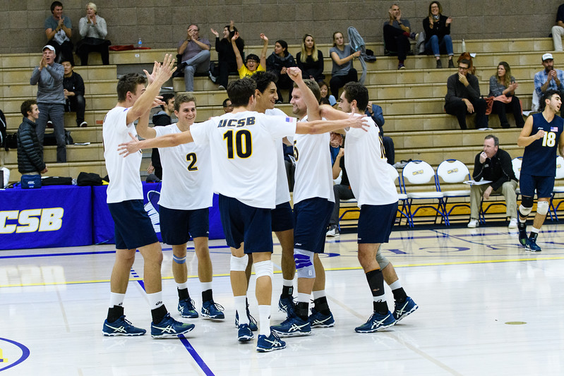 The Gauchos rally after Keenan Sanders serves an ace late in the tight first set.