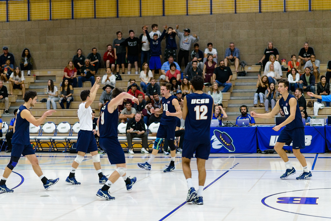 Gauchos celebrate after a solid kill by #10 Jacob Delson