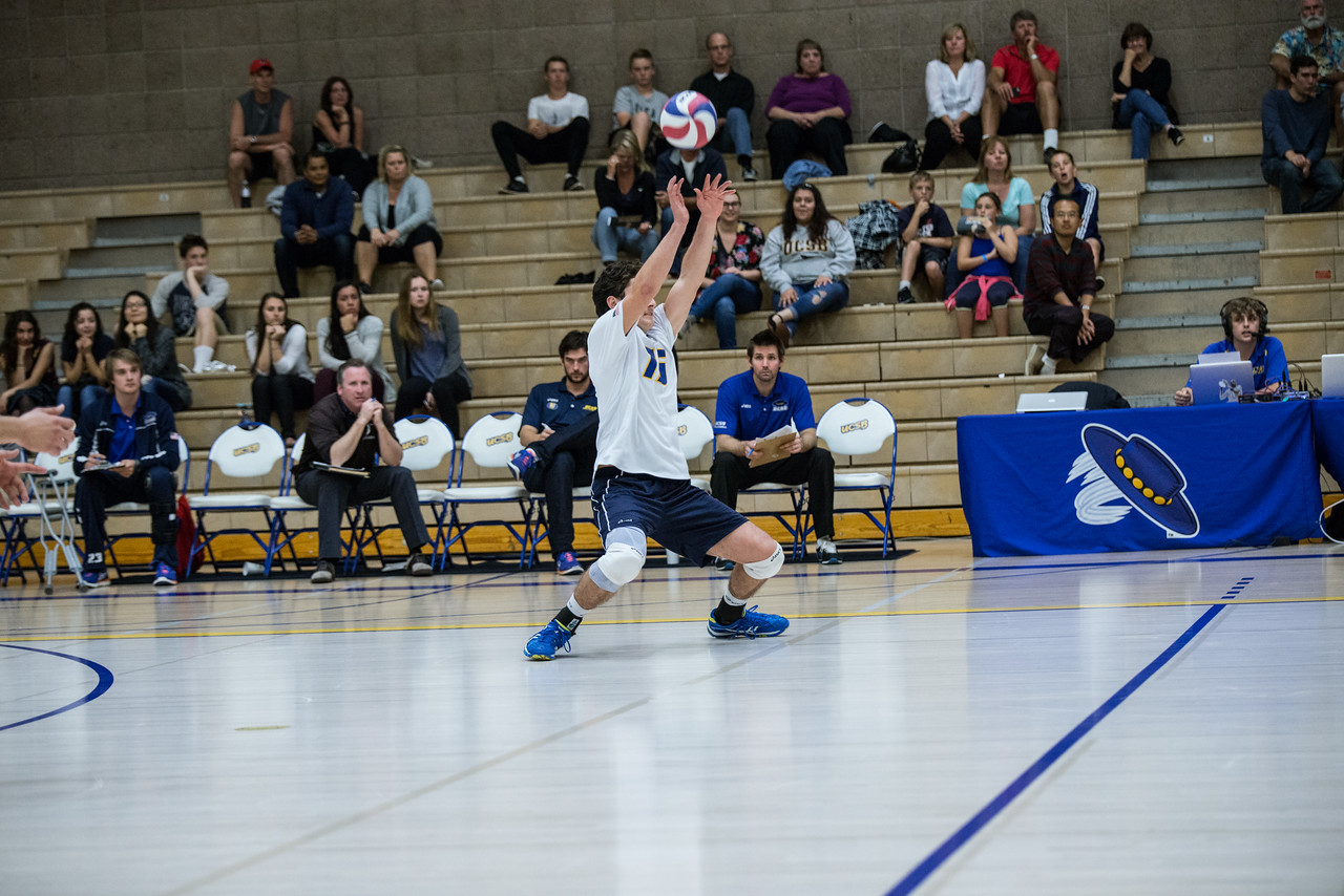 Hayden Boehle pops a strong opposite hit into the air.