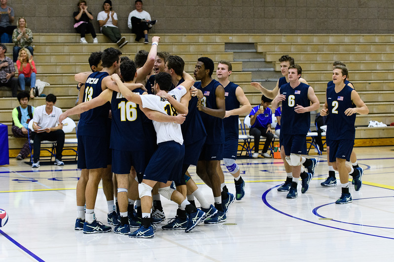 The Gauchos celebrate their 3-straight-set victory over CSUN