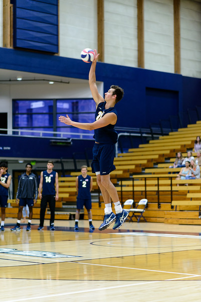 Connor Drake hits 3 solid serves in a row in the face of BYU's match point.