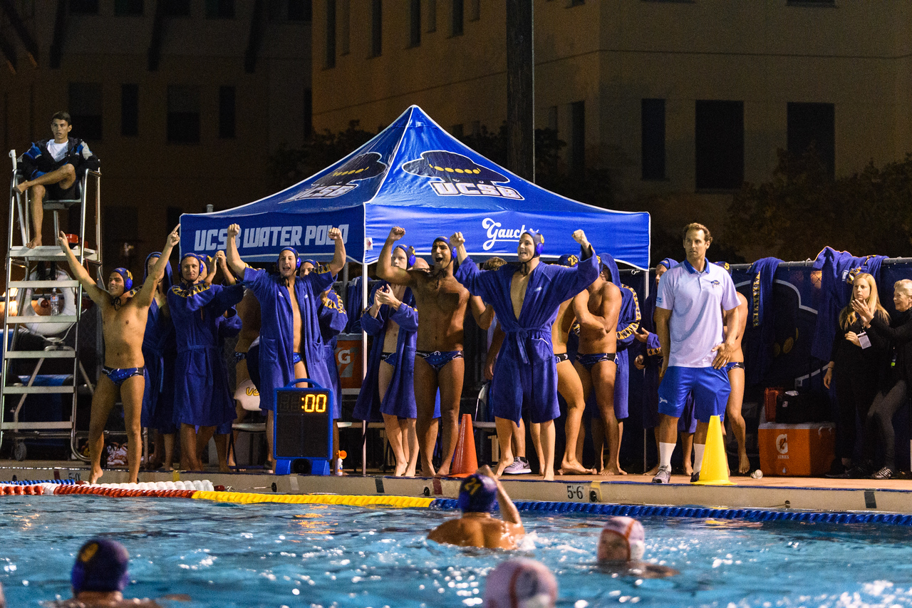 The Gauchos cheer on as they win senior night, 10-8 against Pepperdine.