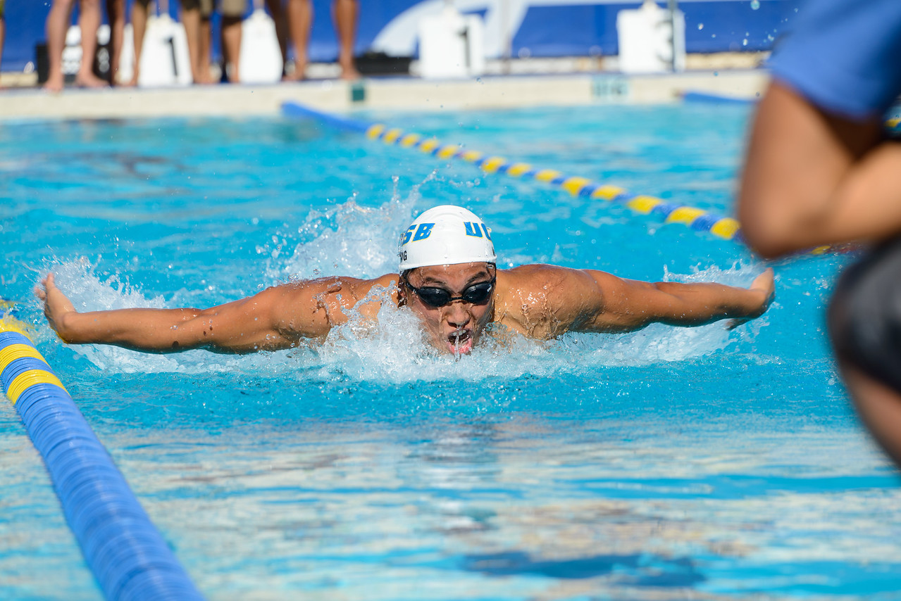 Michael Wang fights for the lead in the 200 fly.