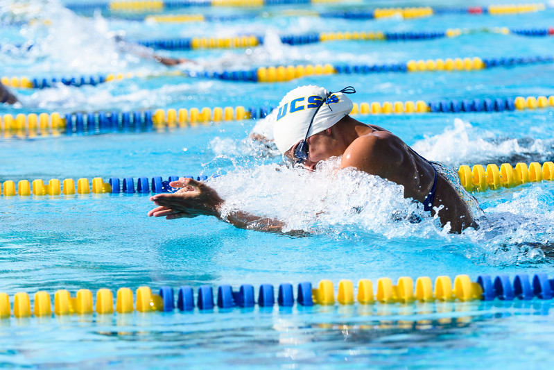 Heaven Quintana takes 1st in the Women's 200 breaststroke.