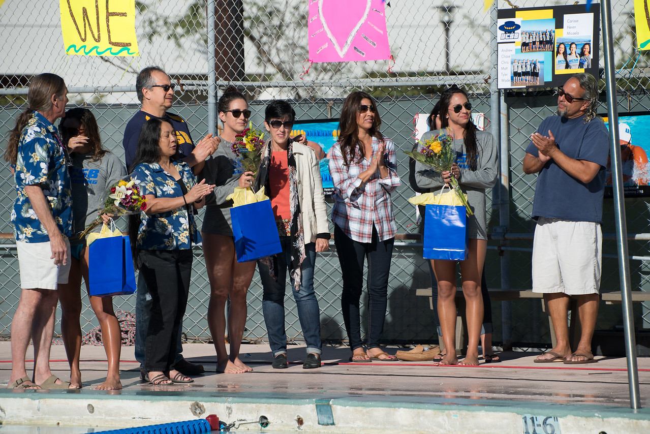 UCSB Seniors Heren Alanis, Carissa Metcalf, and Micaela Velasquez were honored at the meet for their contributions to the team.