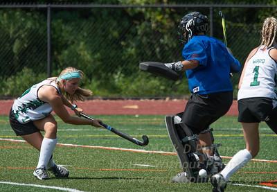 Nichols Field Hockey first scrimmage of season on August 26, 2018, versus Dean at Nichols College