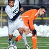 Niwot High School's Alexander Merritt steals the ball from Jose Quintana during a game against Denver West High School on Thursday, Oct. 25, at Frederick High School.<br /> Jeremy Papasso/ Camera