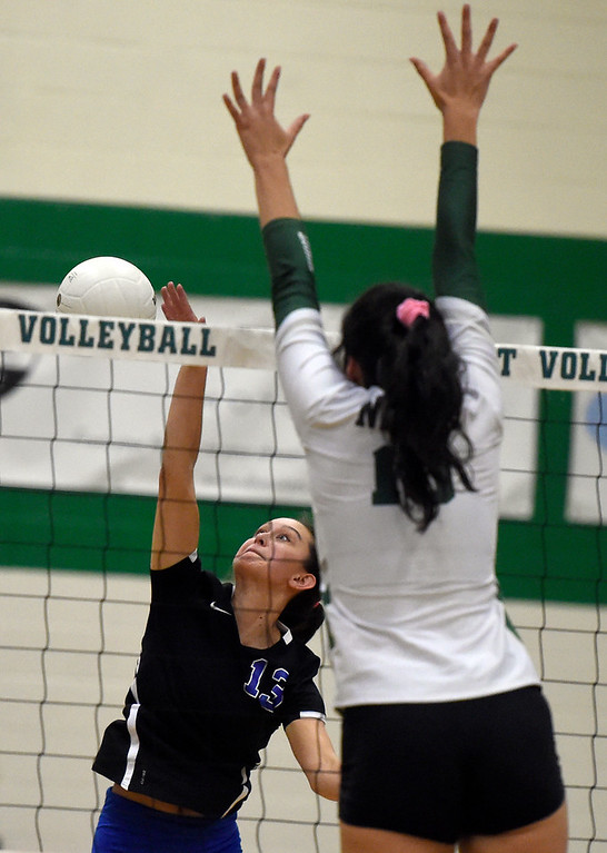 . NIWOT, CO - OCTOBER 18, 2018: Longmont High School\'s Zoe Lowe goes for a kill during a volleyball game against Niwot on Thursday in Niwot. More photos: BoCoPreps.com (Photo by Jeremy Papasso/Staff Photographer)