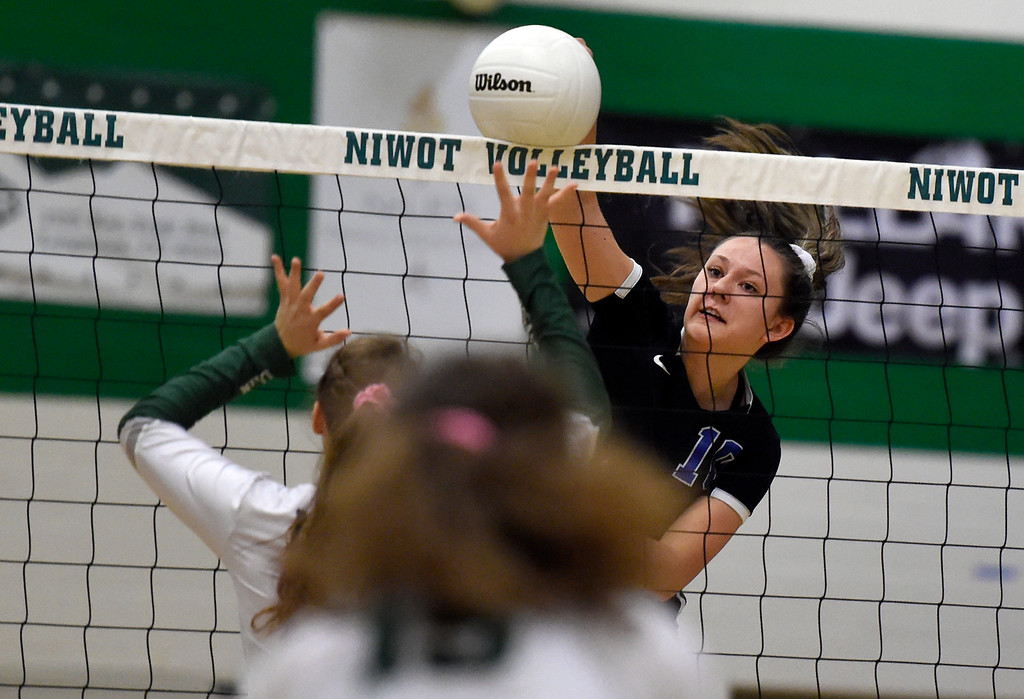 . NIWOT, CO - OCTOBER 18, 2018: Longmont High School\'s Payton Jonason goes for a kill during a volleyball game against Niwot on Thursday in Niwot. More photos: BoCoPreps.com (Photo by Jeremy Papasso/Staff Photographer)