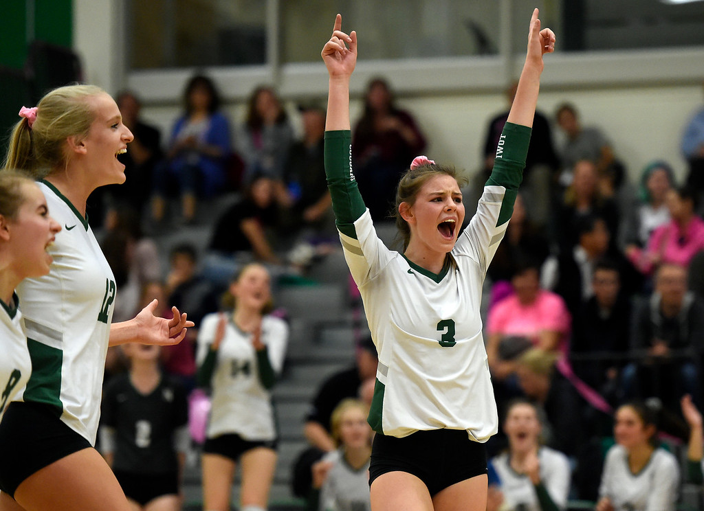 . NIWOT, CO - OCTOBER 18, 2018: Niwot High School\'s Audrey Richard celebrates a point during a volleyball game against Longmont on Thursday in Niwot. More photos: BoCoPreps.com (Photo by Jeremy Papasso/Staff Photographer)