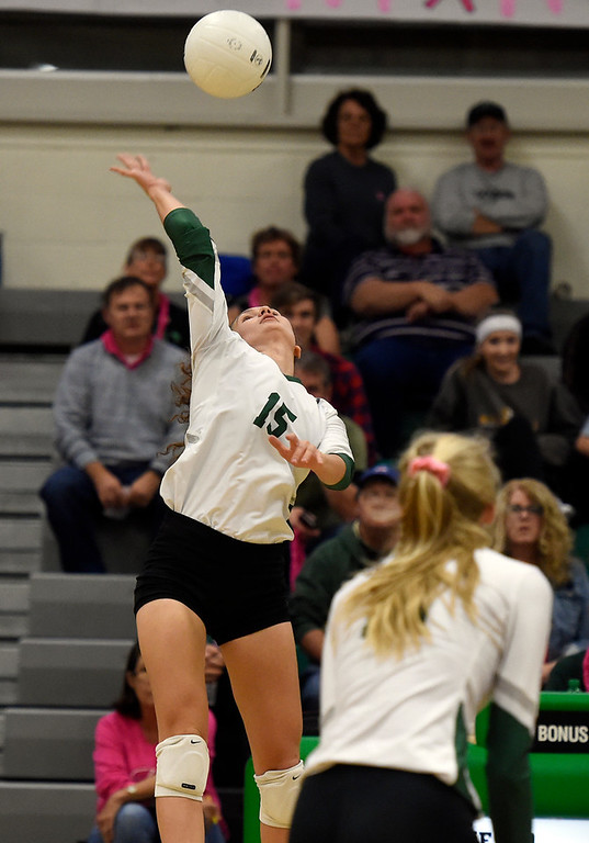 . NIWOT, CO - OCTOBER 18, 2018: Niwot High School\'s Natasha Terekhova goes for a kill during a volleyball game against Longmont on Thursday in Niwot. More photos: BoCoPreps.com (Photo by Jeremy Papasso/Staff Photographer)