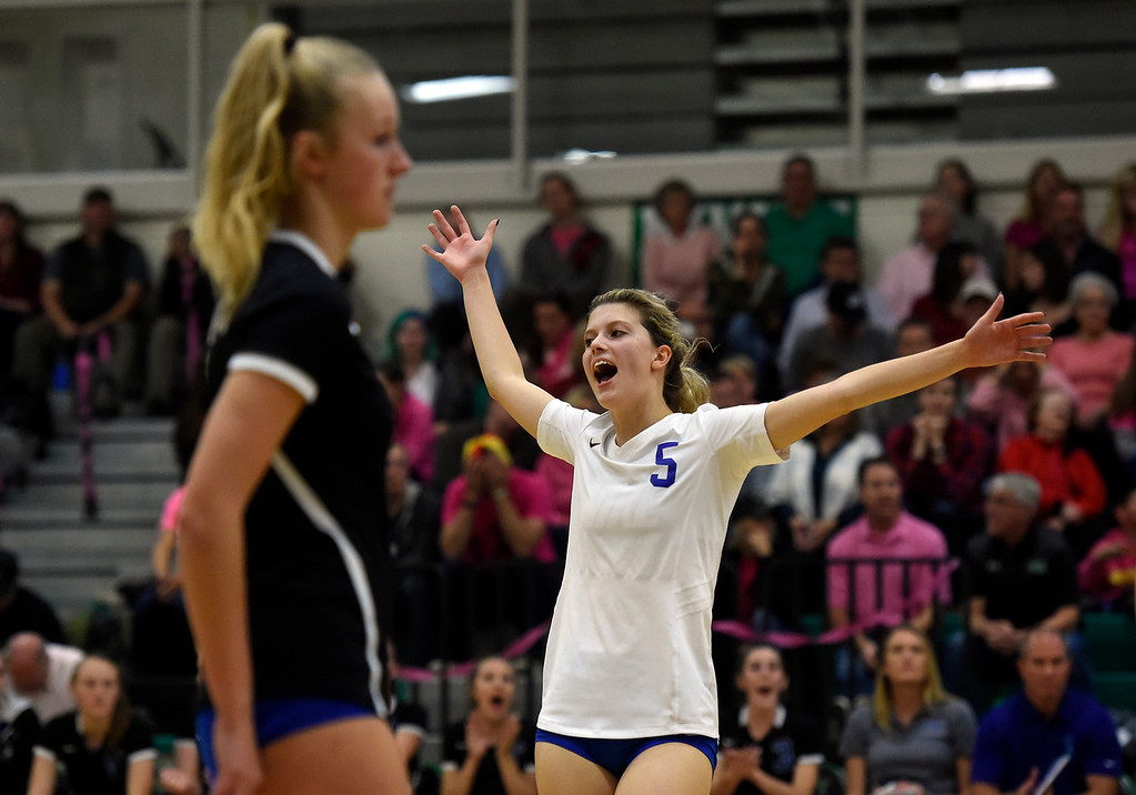 . NIWOT, CO - OCTOBER 18, 2018: Longmont High School\'s Ellen Goodwin celebrates a point during a volleyball game against Niwot on Thursday in Niwot. More photos: BoCoPreps.com (Photo by Jeremy Papasso/Staff Photographer)