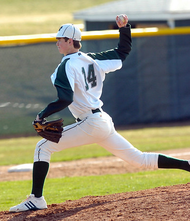 Dylan Kaczeus pitches during the Niwot High vs Mountain View game at Niwot High School on Wednesday April 7, 2010.<br /> Photo by Paul Aiken / The Camera
