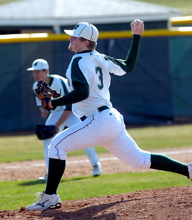 #3 Brady Oleszczuk pitches during the Niwot High vs Mountain View game at Niwot High School on Wednesday April 7, 2010.<br /> Photo by Paul Aiken / The Camera