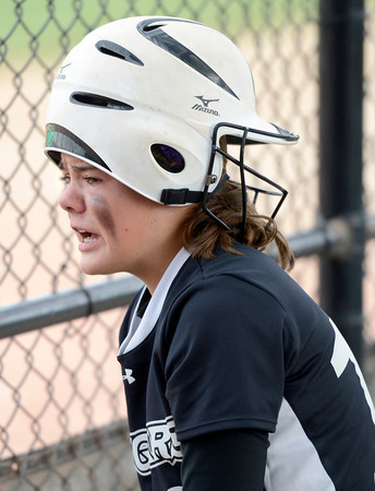 "Niwot High School's Bailey Kleespies shows her emotions while wearing her rally cap in the seventh inning of the Colorado State 4A Championship game against Pueblo East High School on Saturday, Oct. 20, at the Aurora Sports Park in Aurora. Niwot lost the game 4-2.  For more photos of the game go to  <a href=""http://www.dailycamera.com"">http://www.dailycamera.com</a><br /> Jeremy Papasso/ Camera"
