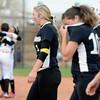 "Niwot High School's Brooklynn DeLozier, right, and Taylor Supino walk off the field as the Pueblo East team celebrates in the background during the Colorado State 4A Championship game against Pueblo East High School on Saturday, Oct. 20, at the Aurora Sports Park in Aurora. Niwot lost the game 4-2.  For more photos of the game go to  <a href=""http://www.dailycamera.com"">http://www.dailycamera.com</a><br /> Jeremy Papasso/ Camera"