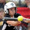 "Niwot High School's Brooklynn DeLozier goes for a bunt during the Colorado State 4A Championship game against Pueblo East High School on Saturday, Oct. 20, at the Aurora Sports Park in Aurora. Niwot lost the game 4-2.  For more photos of the game go to  <a href=""http://www.dailycamera.com"">http://www.dailycamera.com</a><br /> Jeremy Papasso/ Camera"