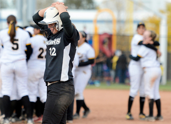 "Niwot High School's Bailey Kleespies shows her emotions as the Pueblo East team celebrates during the Colorado State 4A Championship game against Pueblo East High School on Saturday, Oct. 20, at the Aurora Sports Park in Aurora. Niwot lost the game 4-2.  For more photos of the game go to  <a href=""http://www.dailycamera.com"">http://www.dailycamera.com</a><br /> Jeremy Papasso/ Camera"