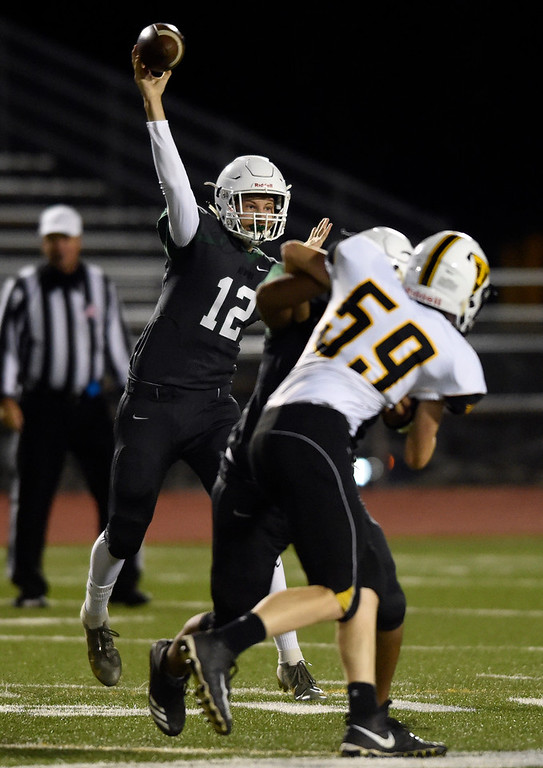 . LONGMONT, CO - OCTOBER 4, 2018: Niwot High School\'s Ayden Bartko throws a pass during a game against Thompson Valley on Thursday at Longmont High School. More photos: BoCoPreps.com (Photo by Jeremy Papasso/Staff Photographer)