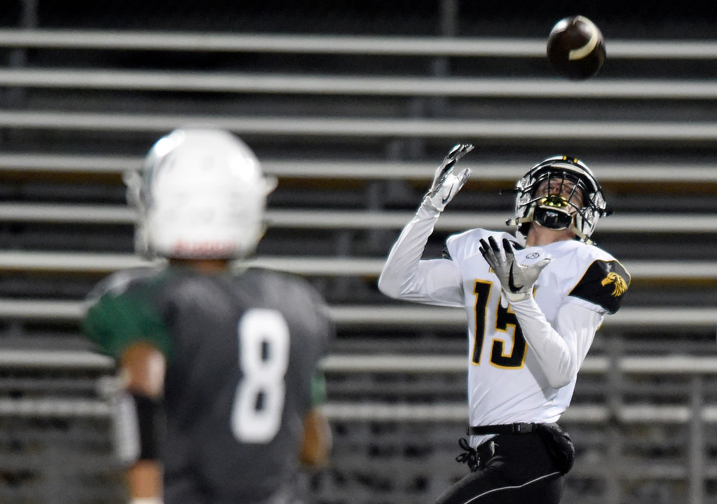 . LONGMONT, CO - OCTOBER 4, 2018: Thompson Valley\'s Trey Kreikemeier makes a catch for big yardage during a game against Niwot on Thursday at Longmont High School. More photos: BoCoPreps.com (Photo by Jeremy Papasso/Staff Photographer)