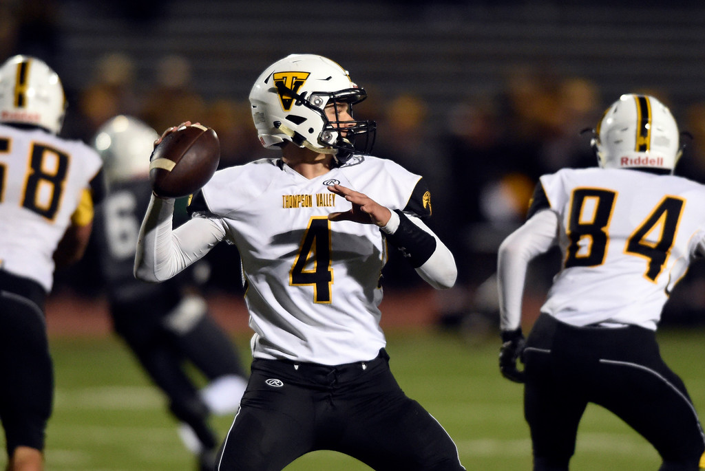 . LONGMONT, CO - OCTOBER 4, 2018: Thompson Valley\'s Cameron Nellor throws a pass during a game against Niwot on Thursday at Longmont High School. More photos: BoCoPreps.com (Photo by Jeremy Papasso/Staff Photographer)