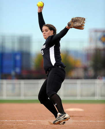 "Niwot High School pitcher Nickie Blue throws some heat during a game against Wheat Ridge High School on Saturday, Oct. 20, at the Aurora Sports Park in Aurora. Niwot won the game 1-0. For more photos of the game go to  <a href=""http://www.dailycamera.com"">http://www.dailycamera.com</a><br /> Jeremy Papasso/ Camera"
