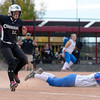 "Niwot High School's Bailey Kleespies looks for an overthrown ball as she touches first base safely in front of Christina Nelson during a game against Wheat Ridge High School on Saturday, Oct. 20, at the Aurora Sports Park in Aurora. Niwot won the game 1-0. For more photos of the game go to  <a href=""http://www.dailycamera.com"">http://www.dailycamera.com</a><br /> Jeremy Papasso/ Camera"