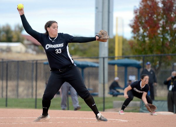 "Niwot High School pitcher Nickie Blue throws a pitch during a game against Wheat Ridge High School on Saturday, Oct. 20, at the Aurora Sports Park in Aurora. Niwot won the game 1-0. For more photos of the game go to  <a href=""http://www.dailycamera.com"">http://www.dailycamera.com</a><br /> Jeremy Papasso/ Camera"