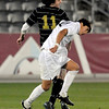 Niwot's Santiago Velez (right) and Rock Canyon's Alessandro Bello (left) go for the ball during the 4A State Championship soccer game in Commerce City, Colorado November 11, 2009. CAMERA/Mark Leffingwell