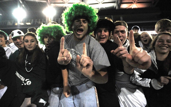 Niwot fans celebrate their soccer team winning the 4A State Championship soccer game in Commerce City, Colorado November 11, 2009. CAMERA/Mark Leffingwell