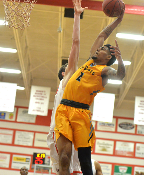 Bud Denega | The Sheridan Press<br /> Sheridan College's AJ Bramah dunks during the Generals' game at Casper College Saturday, Feb. 23, 2019.