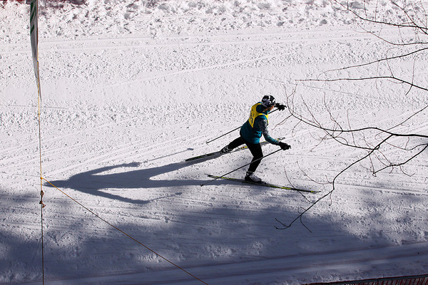 Record-Eagle/Jan-Michael Stump<br /> Elizabeth Miller (4325) approaches the finish line in the North American VASA 12k freestyle Saturday at Timber Ridge Resort in East Bay Township.