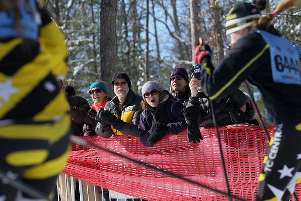 Record-Eagle/Jan-Michael Stump<br /> Fans cheer for competitors at the start of the 6k race in Saturday's North American VASA at Timber Ridge Resort in East Bay Township.