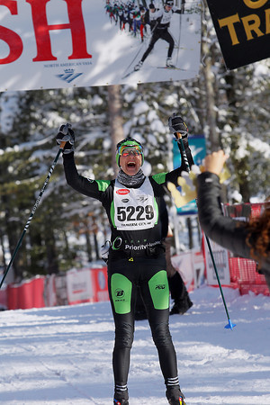 Record-Eagle/Jan-Michael Stump<br /> Susan Stewart (5229) reacts after winning the North American VASA 27k classic Saturday at Timber Ridge Resort in East Bay Township.
