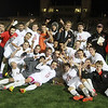 AMY SWEENEY/Staff photo<br /> The North Andover Scarlet Knights celebrate their 3-1 win over Concord-Carlisle in the Division 2 North final last night at the Manning Bowl in Lynn.