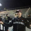 AMY SWEENEY/Staff photo<br /> North Andover's Head Coach William Tarbox gets ready to celebrate his team's win over Concord-Carlisle's in the  Division 2 North final with a score of 3-1 at the Manning Bowl in Lynn last night.