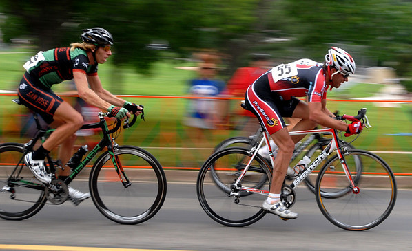 """Jorge Espinoza (55), leads a break away in the pro race of the North Boulder Park Classic.<br /> For more photos of both pro men and women, go to  <a href=""""http://www.dailycamera.com"""">http://www.dailycamera.com</a><br />  Cliff Grassmick / July 10, 2010"""