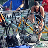 A triathlete gets ready for the biking portion of the North Mankato Triathlon Saturday. Photo by Pat Christman