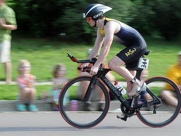 A rider approaches the transition area during Saturday's triathlon. Photo by Pat Christman