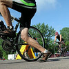 Triathletes leave for the biking portion of the North Mankato Triathlon Saturday. Photo by Pat Christman