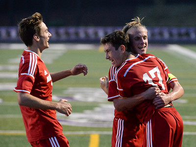 Wadsworth's Kai Wagner (17), Josiah Sovine (10) and Ben Arnold (12) celebrate a goal by Wagner in the first period of Tuesday's game against North Royalton at Serpentini Chevrolet Stadium in North Royalton. (NICK CAMMETT/GAZETTE)