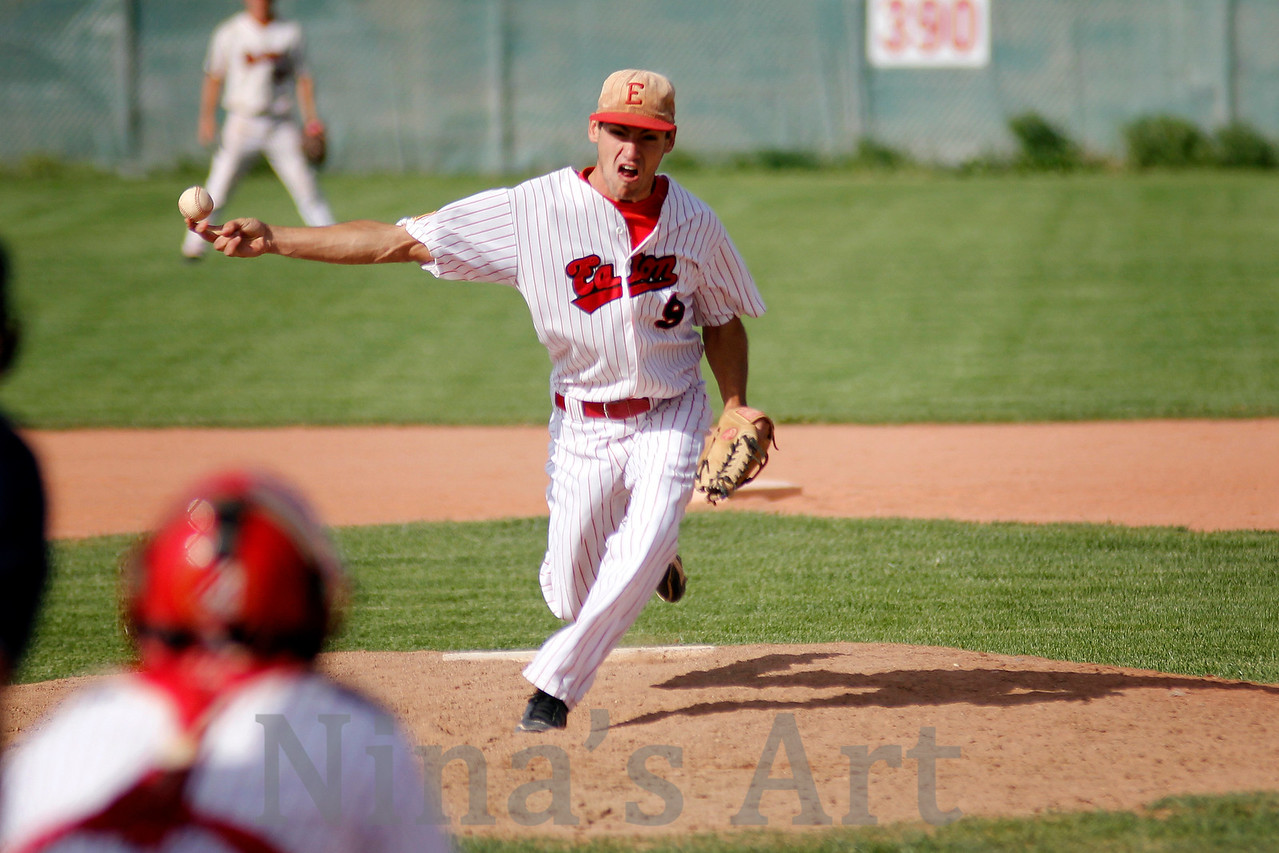 Cory Dyer pitching against Weld Central