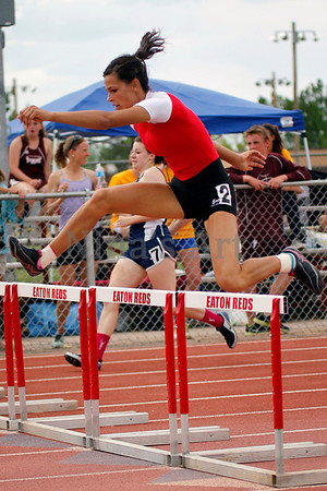 Paitton Heltenberg clears her hurdle in the 300m hurdles