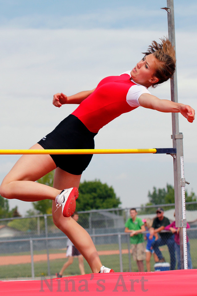 Ryleigh Haynes clears the high jump bar